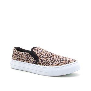 Brown Classic Leopard Printed Slip On Sneakers